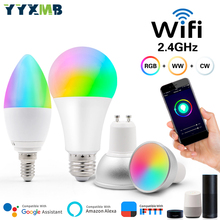 YYXMB tuya Smart WiFi 5W 7W 9W E14 E27 GU10 GU5.3 MR16 Bulb LAMP Remote Voice Control RGBCW Dimmable LED Light