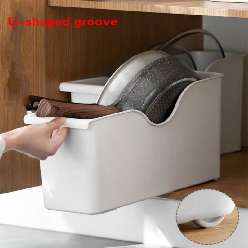 Kitchen Organizer Box With Pulley Pot Lid Rack Drawer Cabinet Storage Containers Tableware Spice Bathroom Storage Organizer
