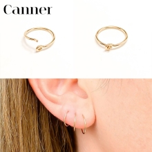 цена на 1 pair Ear Bone Buckle Circle Earrings 925 Sterling Silver Hoop Earrings For Women Simple Round Gold Silver color Earrings