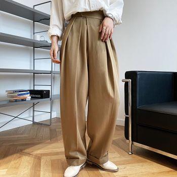 Vintage Brown zagęścić garnitur spodnie dla kobiet jesień zima moda wysokiej talii proste spodnie haremowe Harajuku 2020 koreańskie ubrania tanie i dobre opinie FORYUNSHES Poliester Pełnej długości CN (pochodzenie) Wiosna jesień Stałe Pani urząd Harem spodnie Plisowana Luźne