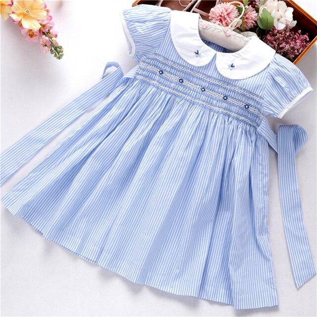 קיץ שמלות רקומות בנות שמלת בישוף בעבודת יד רקמת נסיכת חתונה ורוד בוטיקים בגדי ילדים L191127558