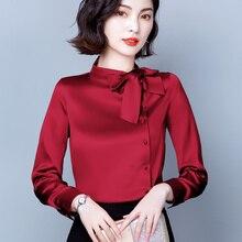 Корейские шелковые женские блузки, женские рубашки с длинным рукавом, блузка, Элегантная Женская атласная рубашка с бантом, топы, модные жен...
