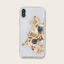 Прозрачный чехол для iphone с изображением кошек и животных