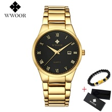 лучшая цена WWOOR Quartz Watch Men Waterproof Men's Watches Classic Military Sport Watch Clock Male Full Steel Casual Business Gold Watch