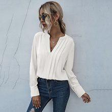 40 # feminino chiffon blusa com decote em v manga comprida plissado chiffon comute cor sólida pulôver camisa de negócios senhora do escritório