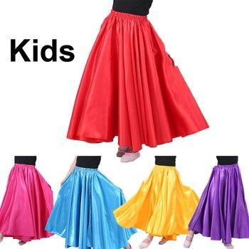 10 colori Per Bambini Grande Swing Raso di Seta Liscia Ragazze di Ballo di Pancia del Pannello Esterno Dei Bambini Gypsy Ragazze Spagnolo di Flamenco Danza del ventre Costumi