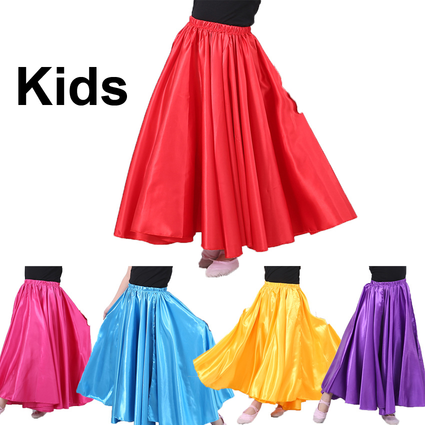 10colors Children Big Swing Satin Silk Smooth Girls Belly Dance Skirt Kids Gypsy Girls Spanish Flamenco Bellydancing Costumes