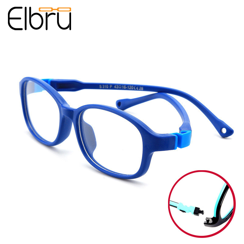 Elbru Ultralight Detachable Children Glasses Boys&Girls Soft Silicone Round Frame Goggle Kids Solid Color Optical Eyeglasses