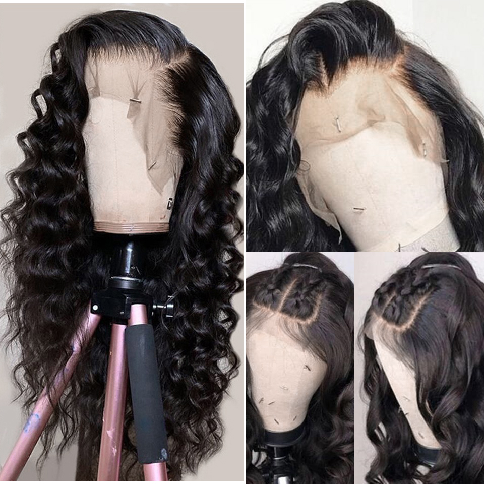 Gluess Lace Front Human Hair Wigs Brazilian Loose Deep Wave Wig Pre Plucked Natural Hairline Natural Wave Remy Hair Wigs