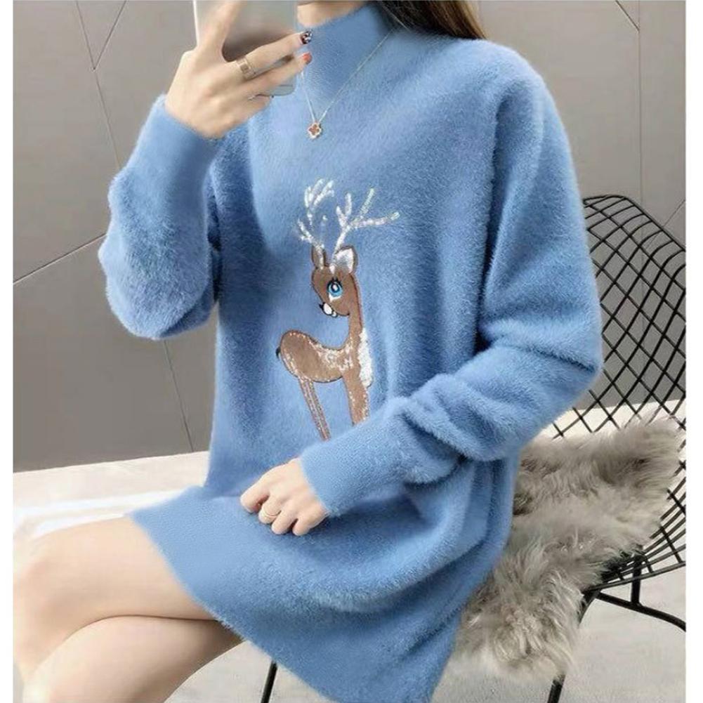 Mohair Winter Warm Christmas Sweaters Women Fleece FashionTurtleneck Knitted Sweater Dress Pullovers Long Knitwear Oversize