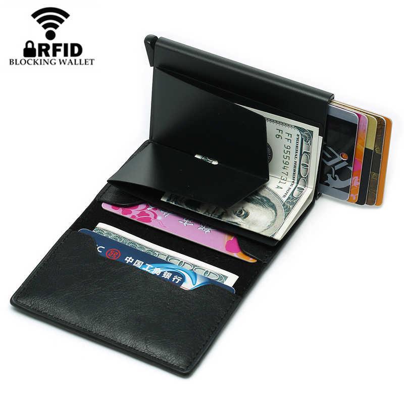 Bycobecy 2019 fino rfid carteira titular do cartão de visita ferrolho alumínio cartão de crédito carteira metal crédito mini carteira inteligente