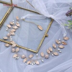 Image 2 - TOPQUEEN HP110, diadema nupcial hecha a mano, tocados de boda, joyería de flores para el cabello, accesorios para el cabello con cuentas de hojas doradas y diamantes
