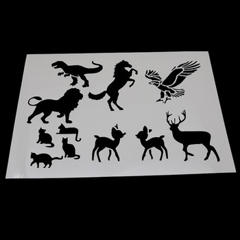1pc Stencils Openwork Animal Painting Template Embossing Bullet Journal Stencils Accessories For Scrapbooking Stencil Reusable 1pc stencils bullet journal gthrush bird painting template diy embossing stencils accessories for scrapbooking stencil reusable