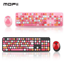 Mofii Wireless Gaming Keyboard and Mouse Combo Multimedia Round keycaps Multicolor Computer Keyboard and Mouse Set for Girl Gift