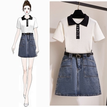 Chic Couture Women Suit Turn Collar Embroidery Letters Short Sleeve Knitted Blouse & Denim Skirt Of Tall Waist  2 Pcs Set Lady