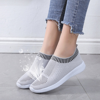 DAHOOD, zapatillas de deporte de talla grande para mujer, calcetines de tela elástica, zapatos vulcanizados a la moda para mujer, zapatos planos informales para mujer