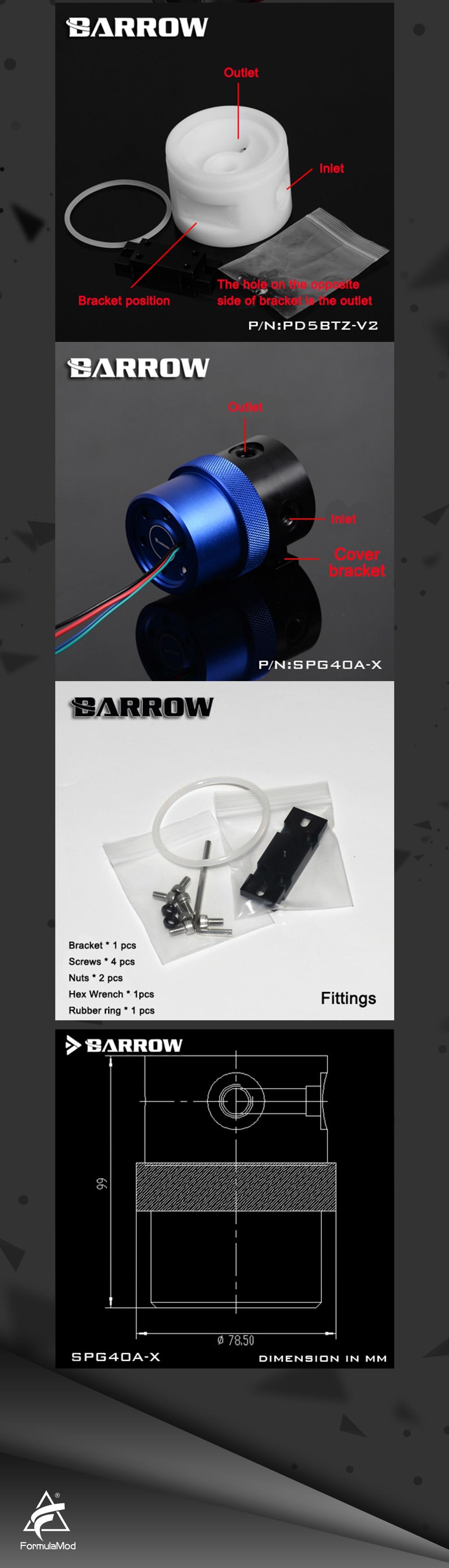 Barrow SPG40A-X, 18W PWM Pumps, Maximum Flow 1260L/H, Compatible with D5 Series Pump Cores and Components