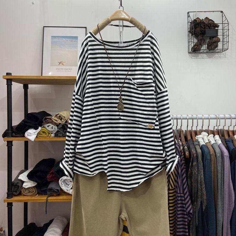 Maglietta Casual allentata a maniche lunghe da donna primavera autunno moda 100% cotone t-shirt a righe o-collo grandi tasche Femme top V218