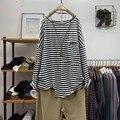 Spring Autumn Fashion Women Long Sleeve Loose Casual Tshirt 100% Cotton Big Pockets O-neck Striped Tee Shirt Femme Tops V218