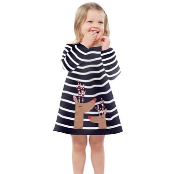 Girls Deer sukienka princeska w paski strój bożonarodzeniowy ubrania maluch dzieci dziewczynek swobodne sukienki od 9 miesięcy do 6 lat 1110 tanie i dobre opinie ARLONEET COTTON Poliester CN (pochodzenie) Kolan O-neck REGULAR Pełna Na co dzień Pasuje prawda na wymiar weź swój normalny rozmiar