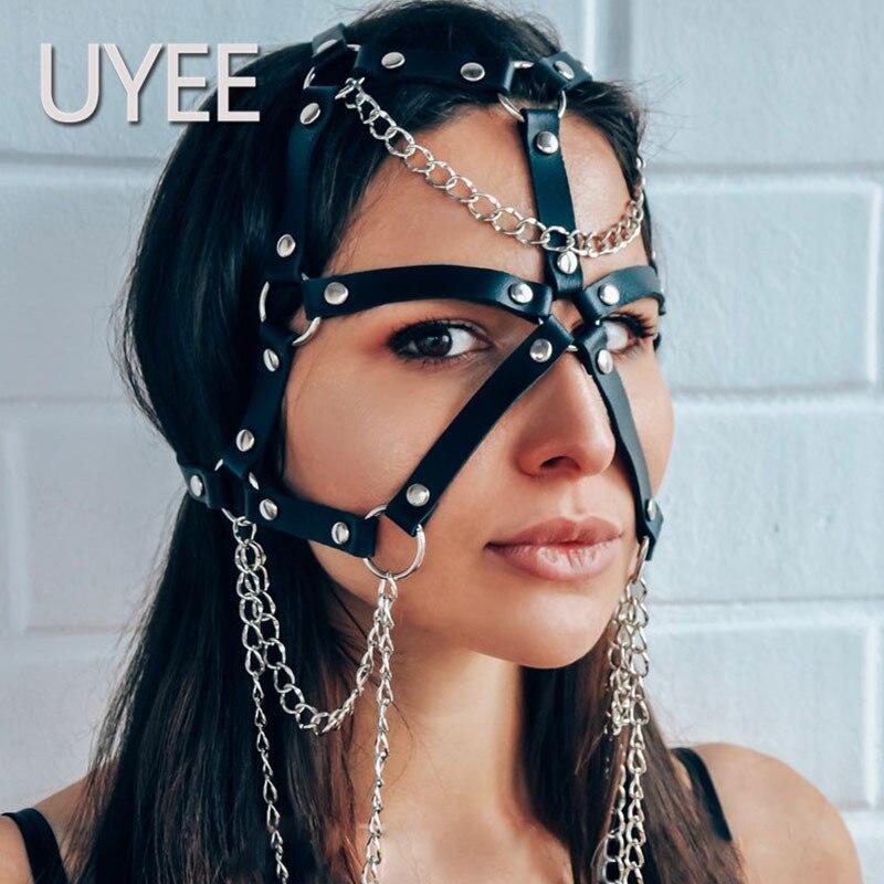 UYEE 2019 Hot Women Sexy Leather Harness Garter Cute Girl Sexy Lingerie Body Bondage Braces Suspenders Leather Harness
