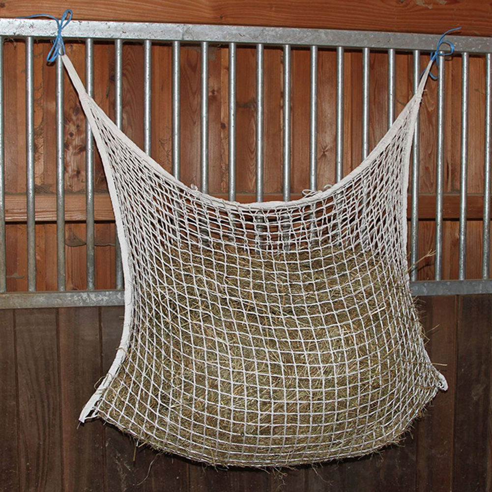 Wear Resistant Hay Bag Hanging Home Small Hole Farm Large Capacity Space Saving Horse Feeding Braided Nylon Mesh Net Cattle