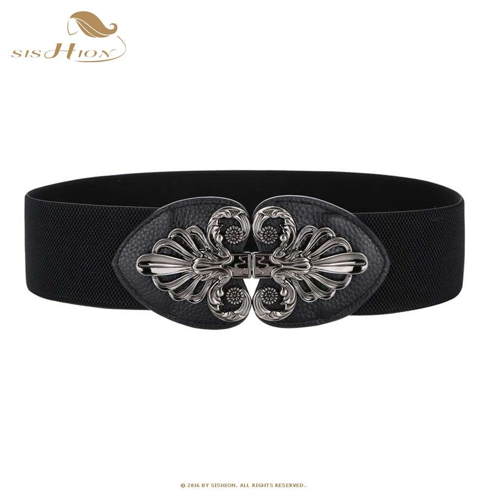 SISHION Elastic Waistband Ladies Vintage Hook Buckle Black Belts Corset For Dress Waist Wide Vintage Belt Cummerbund SP0353