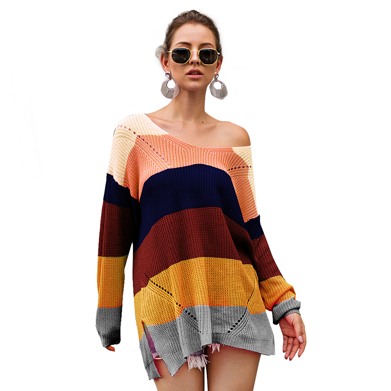 Spring Rainbow Stripes Women Girls Sweaters Summer V Neck Long Sleeves Loose Knitted Lady Pullover Sweaters Tops