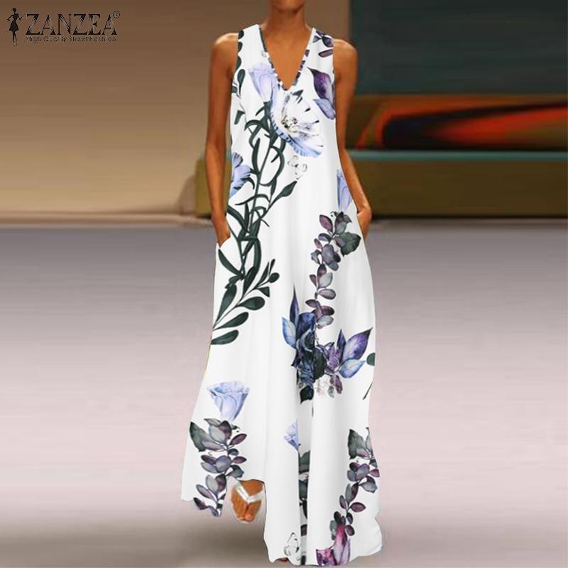 ZANZEA 2019 Fashion Summer Sundress Women Long Maxi Vestidos Floral Printed Bohemian Dress Ladies Casual Pockets Long Tunic Robe 2