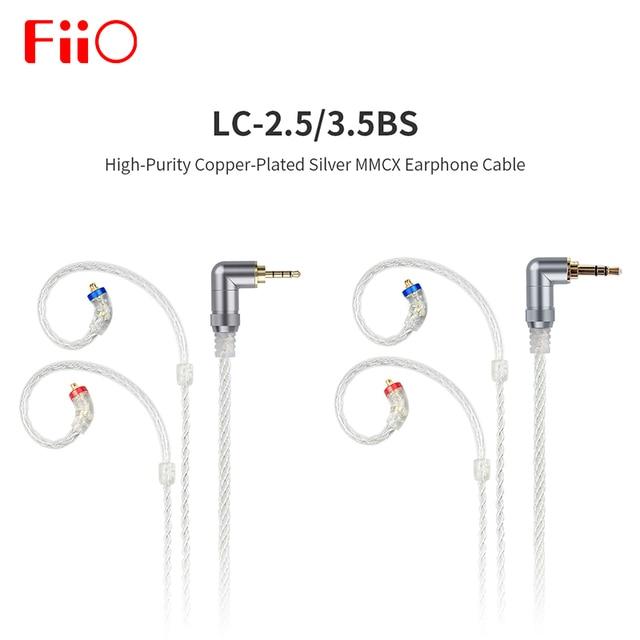 Fiio LC 3.5BS 2.5bs cabo curto de alta pureza cobre chapeado prata padrão mmcx 3.5mm para shure/fiio btr5/btr3/fh7/f9 fones de ouvido