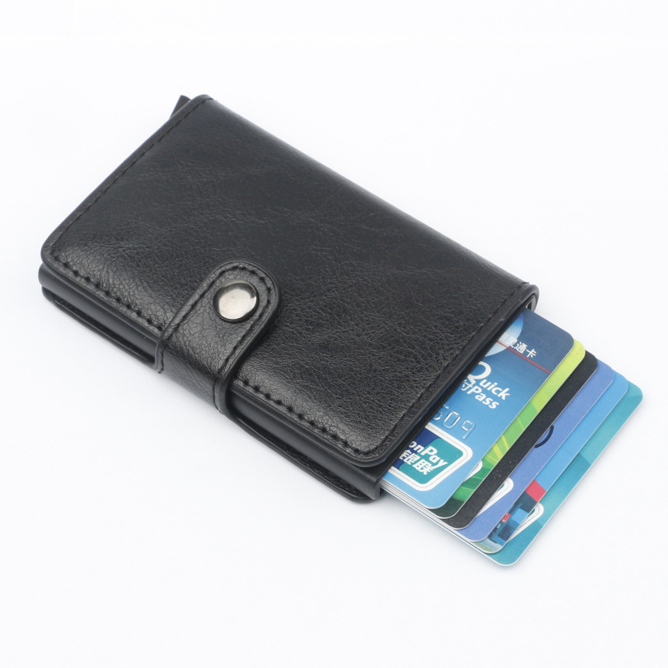 New Hasp Men Credit Card Holder RFID Blocking PU Leather Automatic Business ID Card Holder Aluminum Metal Wallet Purse For Cards