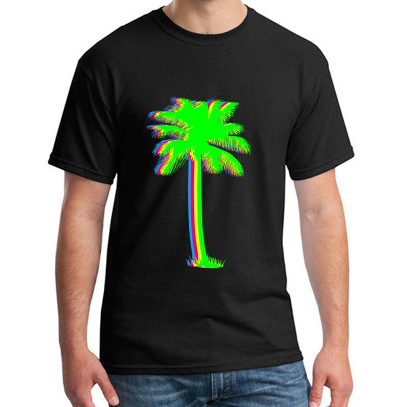 Custom Neon Palm Tree Tropical Summer Bright tshirt men and women Formal Novelty Harajuku gents t shirt tee black Normal
