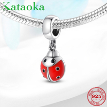 New 925 Sterling Silver Red Enamel Ladybug Charms Beads Fit Pandora charms silver Bracelet original jewelry making