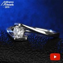 ラウンドカット 1*5 ミリメートルS925 スターリングシルバーリングsonaダイヤモンドソリティアファインリングユニークなスタイルの愛の結婚式の婚約
