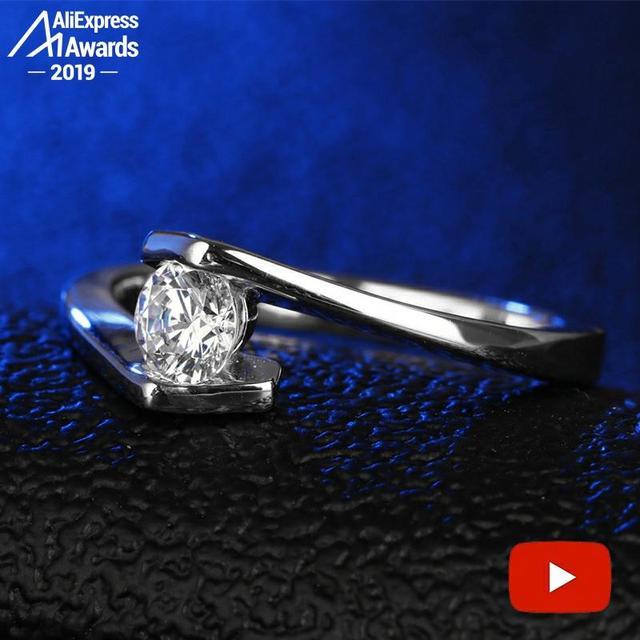 Taille ronde 1*5mm S925 bague en argent Sterling SONA diamant solitaire bague Fine Style Unique amour fiançailles de mariage