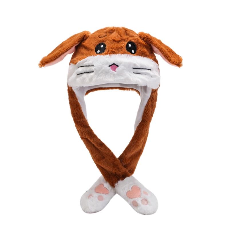 Kocozo, шапка кролика, подвижные уши, милая мультяшная игрушка, шапка, подушка безопасности, Kawaii, забавная шапка-игрушка, Детская плюшевая игрушка, подарок на день рождения, шапка для девочек - Цвет: Brown tiger
