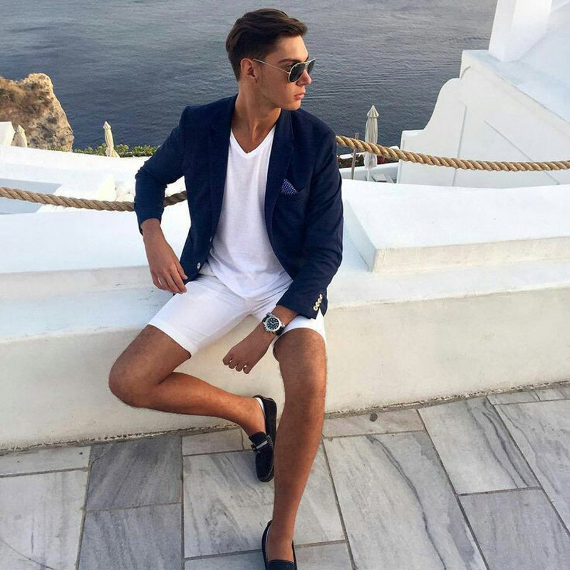 Latest casual navy blue <font><b>men's</b></font> blazer white <font><b>shorts</b></font> fashion summer best man wedding slim fit dress costume homme 2 pieces terno image