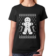 Fashion T Shirt Hipster Cool Tops Gingerbread Ugly Christmas Cookie Sweater S Crew Neck Short Sleeve Tall T Shirt Women(China)