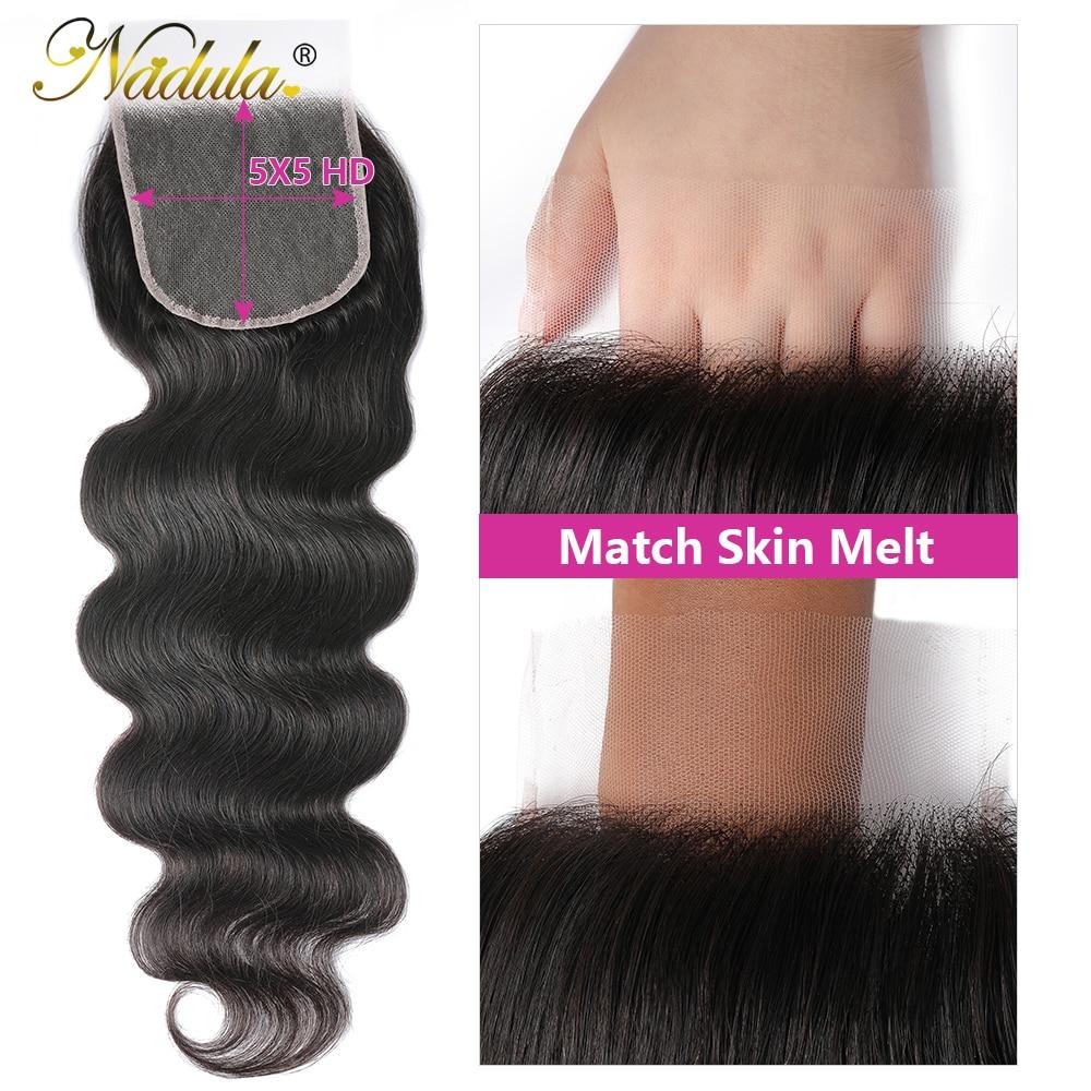 Nadula Hair 4x4 Lace Closure Brazilan Body Wave Hair  PU Silk Base Closure /Medium Brown Closure  Closure 4