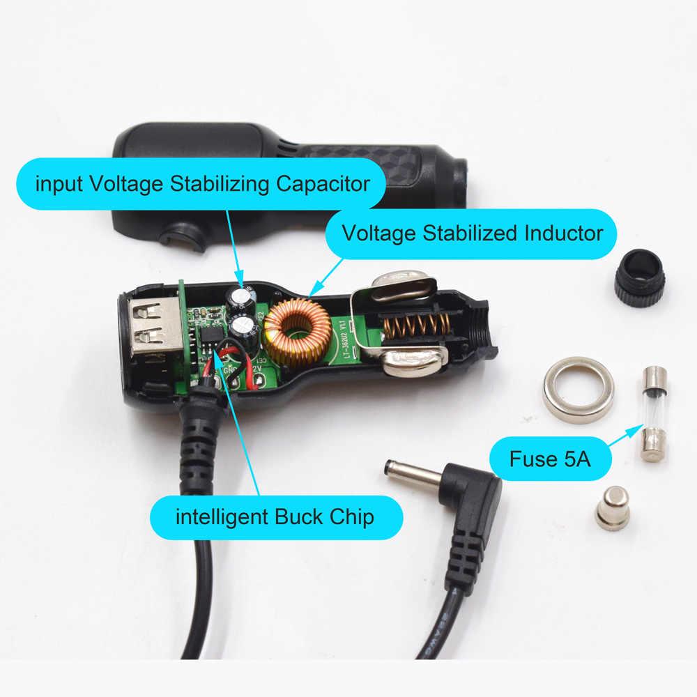 XCGaoon çapı 3.5mm 12V 1.5A şarj portu 5V 3.5A çift USB araba şarjı için araba GPS Radar kamera kablo 1.5 metre