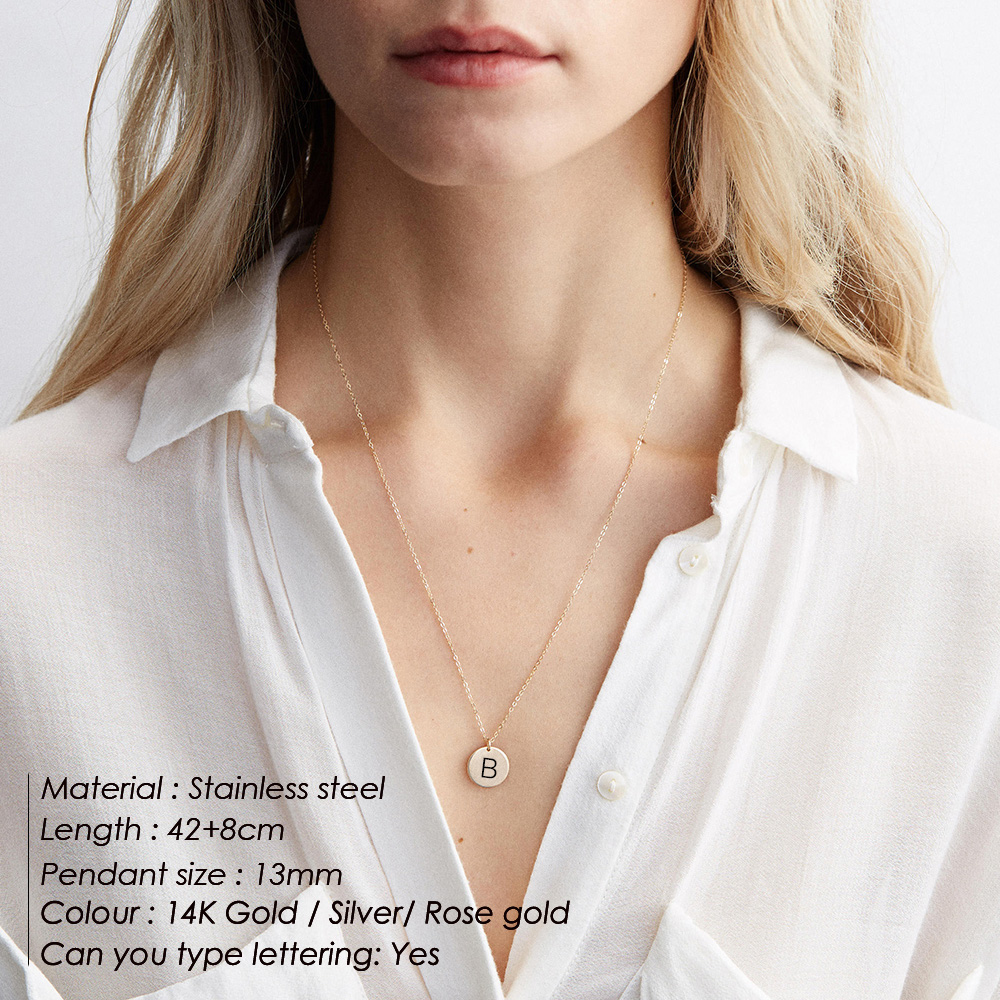 eManco Custom Alphabet Pendant Necklace women Gold color 316L Stainless Steel Necklace Fashion Jewelry