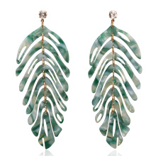 2020 Big Tree Leaves Long Pendant Acrylic Bohemian Earrings for Women Fashion Colorful Drop Acetate Girls Boho Simple ZA Earings