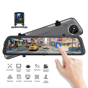 12in Car Mirror Dash Cam Dual Lens HD 1080P DVR GPS Driving Video Recorder Night Vision EDR Dashcam G-Sensor image