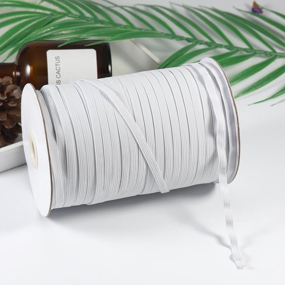 DIY maske 200 metre uzunluk 1/4 inç genişlik örgülü elastik bant beyaz elastik kordon ağır streç yüksek elastikiyet örgü elastik bant