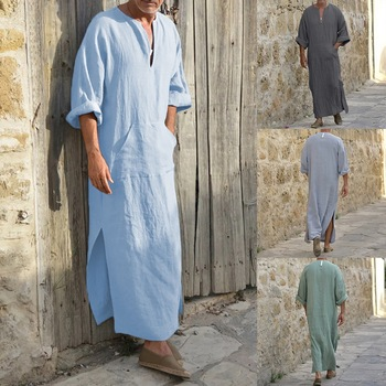 2021 New Cotton Linen Loose Saudi Arab  Muslim Dubai Robe Men's Long Shirt Male Deep V Neck Solid Middle Thobe Islamic Dropship