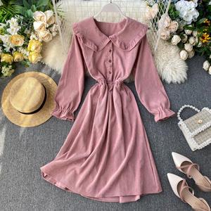 SINGRAIN Elegant Dresses Romantic Vintage Long Winter Autumn Solid Pan-Collar Peter Streetwear