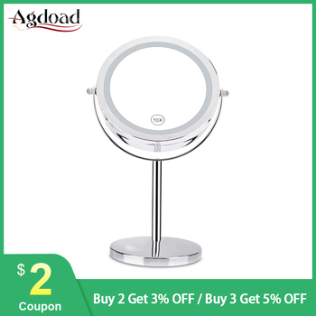 10x Magnifying Desktop Makeup Mirror with LED Light 360 Rotation Double Side 7inch LED Lighted up Comestic Mirror