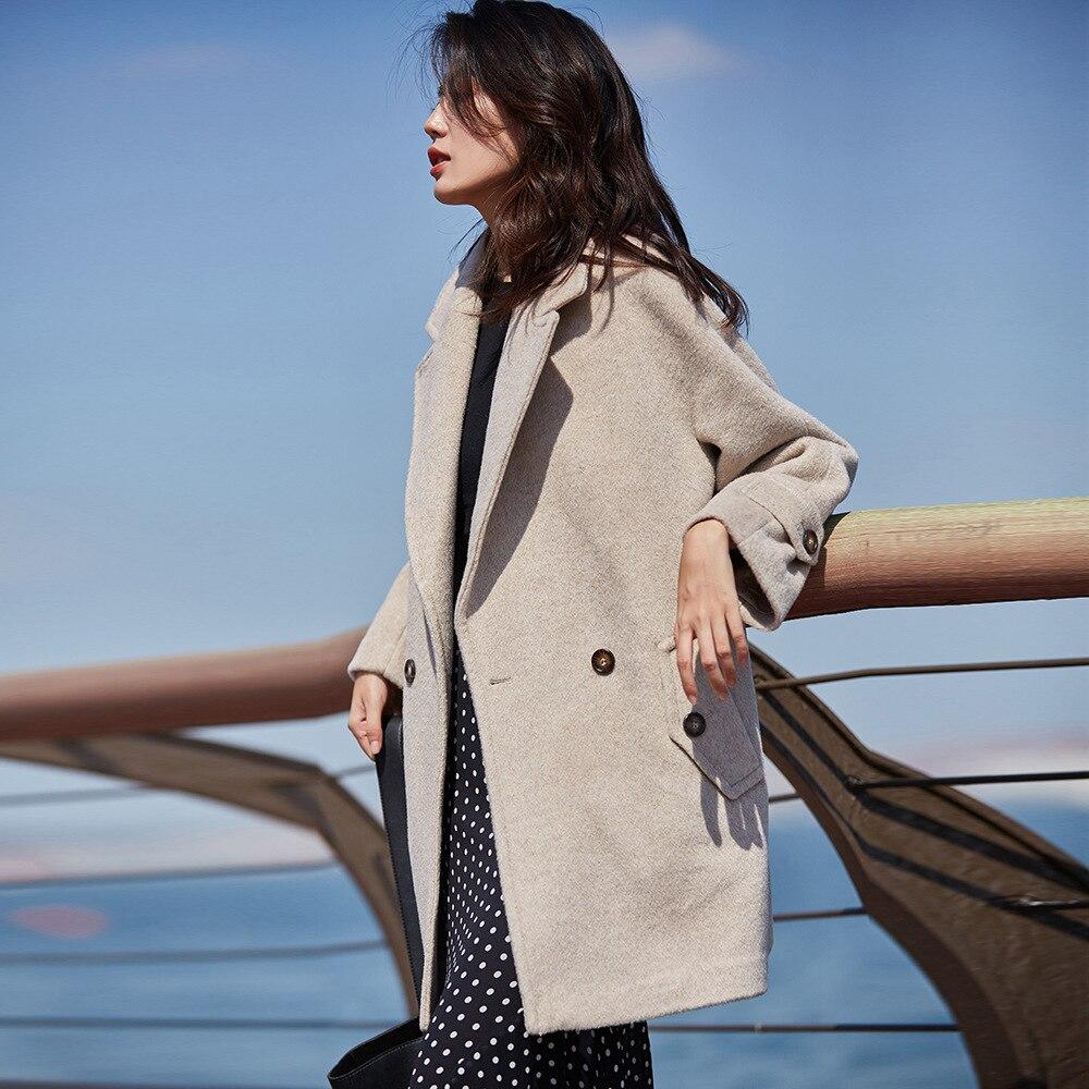 Womens Wool Coats Winter Warm Woolen Coat Ladies Coats Double Breasted Coat Black Real Alpaca Wool Coat Pink Luxury Overcoat ins