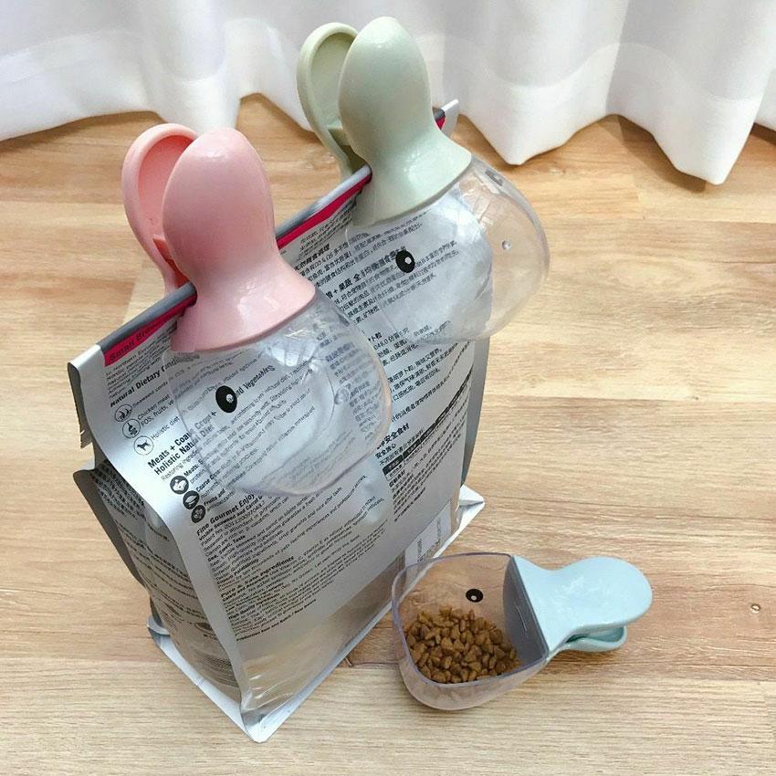 Pet Dog Cat Food Spoon Measuring Cup Multifunction Bag Sealing Clip Pet Cat Dog Food Feeding Scoop Spoon