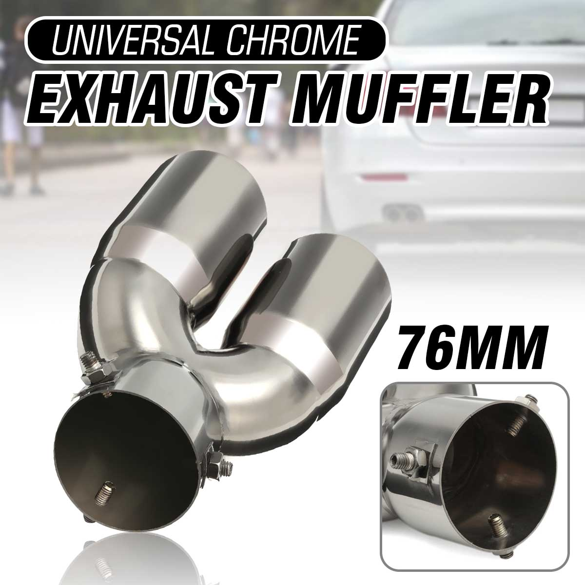 Universal Double Tube Silver Car Exhaust Muffler Vehicle Steel Tail Pipe